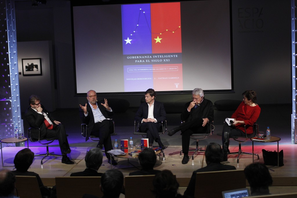 Madrid, Spain: (from left) Juan Luis Cebrián, Nathan Gardels, Nicolas Berggruen, Felipe González, and Montserrat Dominguez discuss Intelligent Governance at Espacio Fundación Telefónica --©Álvaro García