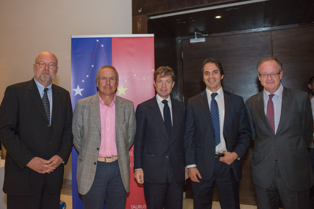 Santiago, Chile: (from left) Nathan Gardels, Fernando Paulsen, Nicolas Berggruen, Mauricio Montenegro, David Gallagher