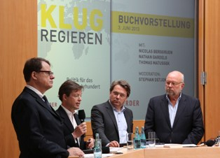 German book launch in Berlin: (from left) Matussek, Berggruen, Detjen, Gardels   --©Marc Darchinger