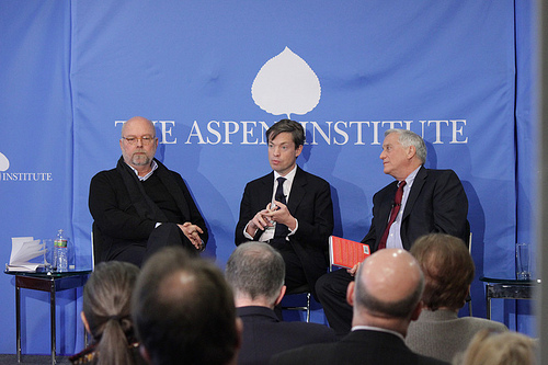 Washington D.C.: Nathan Gardels and Nicolas Berggruen discussing their book with moderator Walter Isaacson --©The Aspen Institute