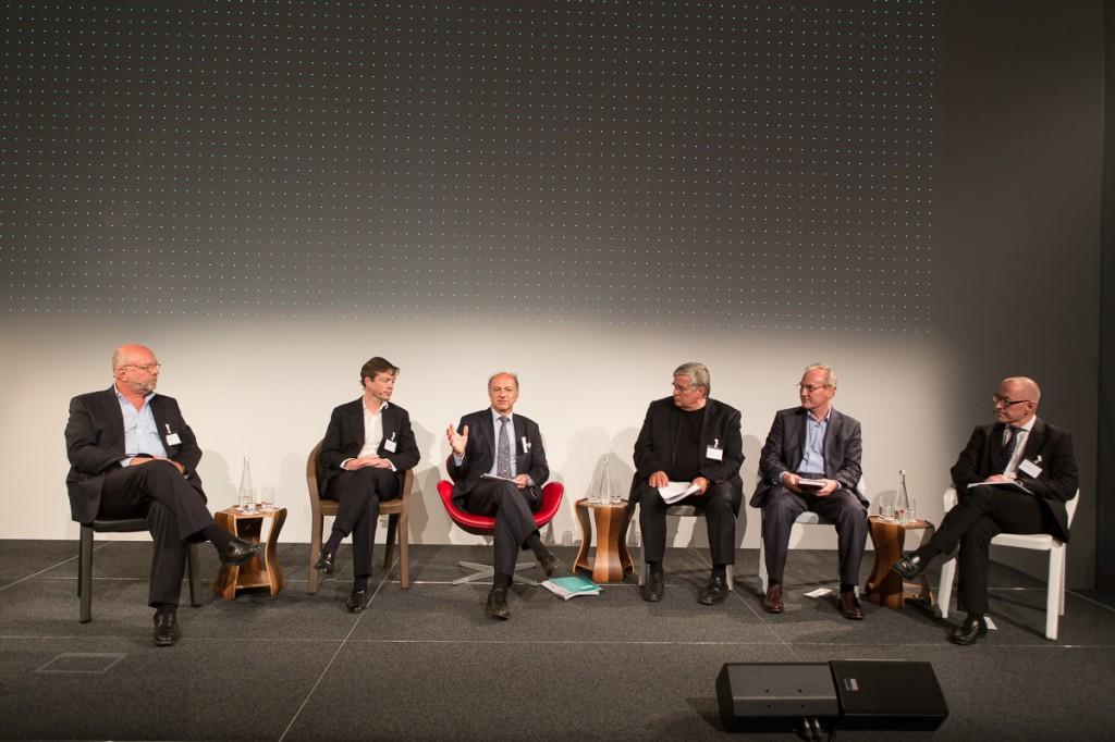 At the GDI in Zurich: (from left) Nathan Gardels, Nicolas Berggruen, Haig Simonian, Ulrich Tilgner, Ernst Fehr, David Bosshart