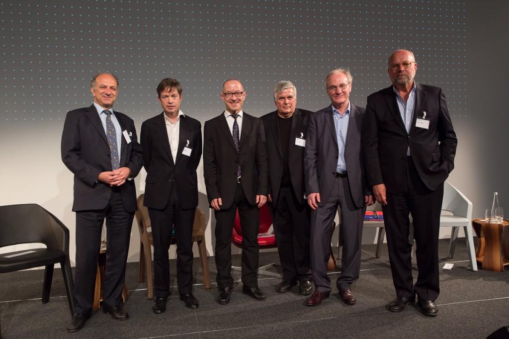 At the GDI in Zurich, Switzerland: (from left) Haig Simonian, Nicolas Berggruen, David Bosshart, Ulrich Tilgner, Ernst Fehr, Nathan Gardels