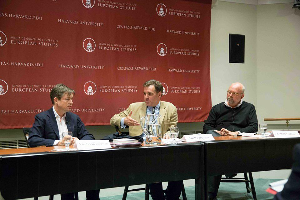 Book event at Harvard's Center for European Studies: (from left) Nicolas Berggruen, Niall Ferguson, and Nathan Gardels